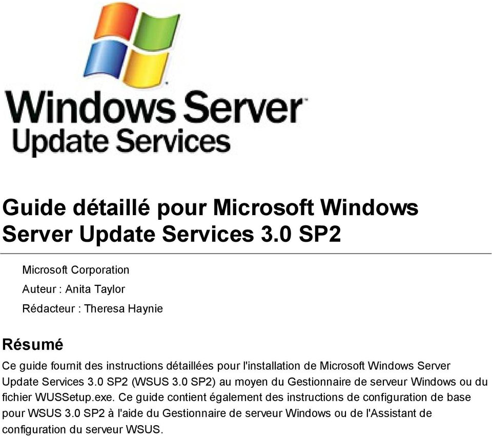 l'installation de Microsoft Windows Server Update Services 3.0 SP2 (WSUS 3.