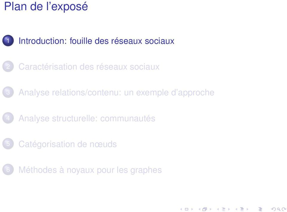 relations/contenu: un exemple d approche 4 Analyse