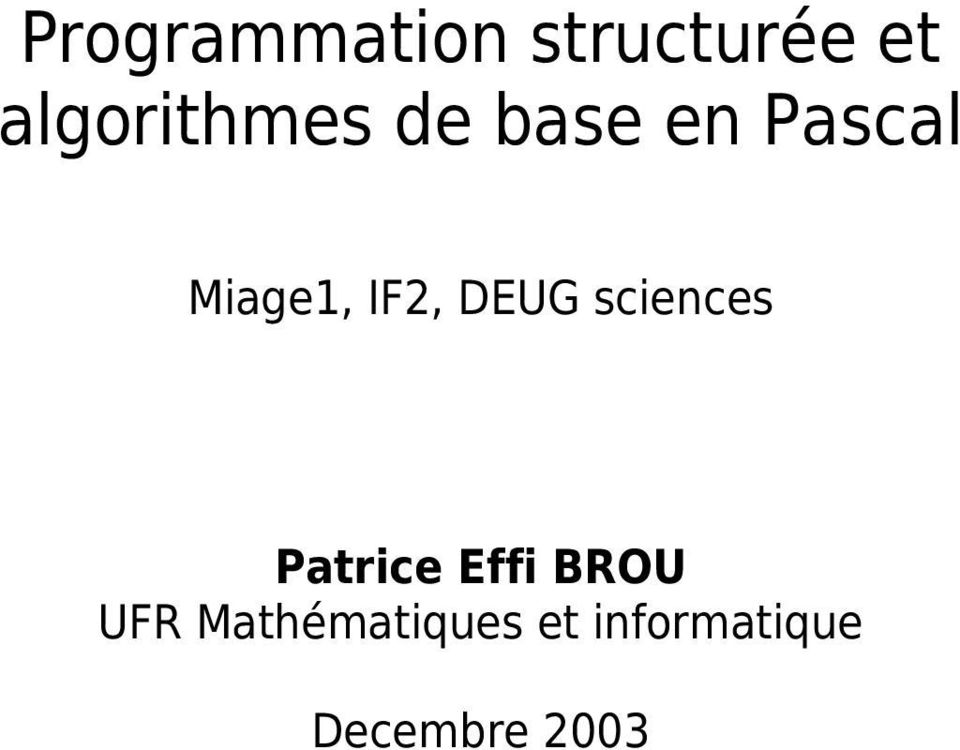 IF2, DEUG sciences Patrice Effi BROU