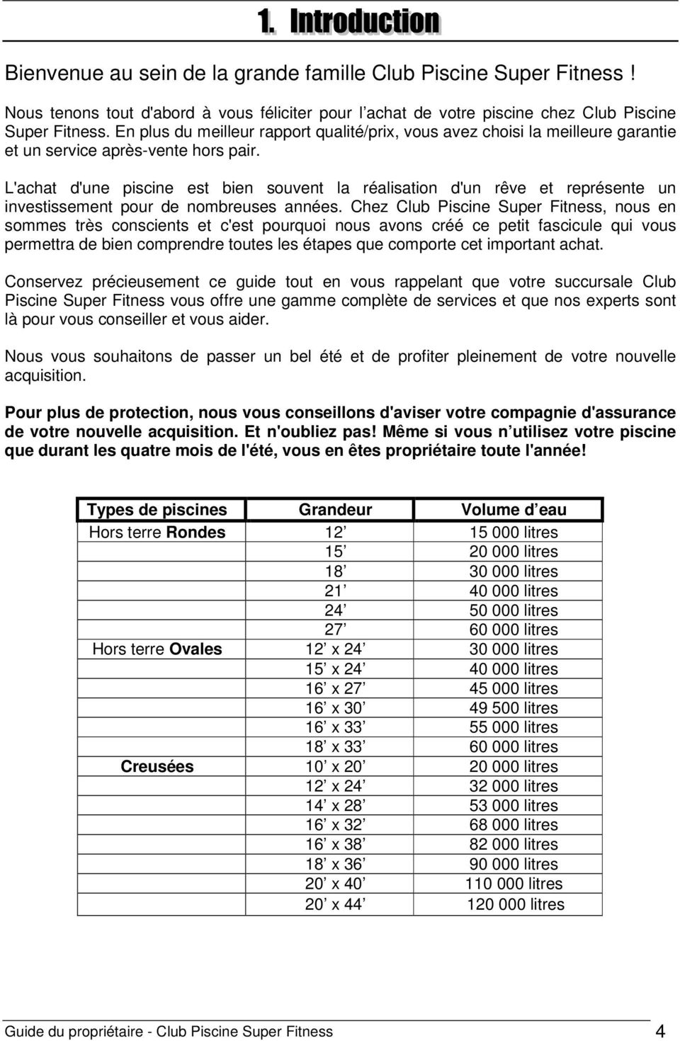 Guide Du Proprietaire Club Piscine Super Fitness 1 Pdf