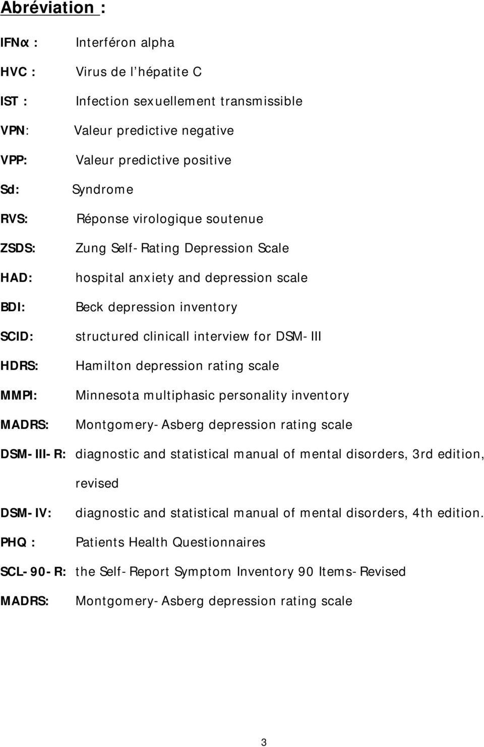 DSM-III Hamilton depression rating scale Minnesota multiphasic personality inventory Montgomery-Asberg depression rating scale DSM-III-R: diagnostic and statistical manual of mental disorders, 3rd