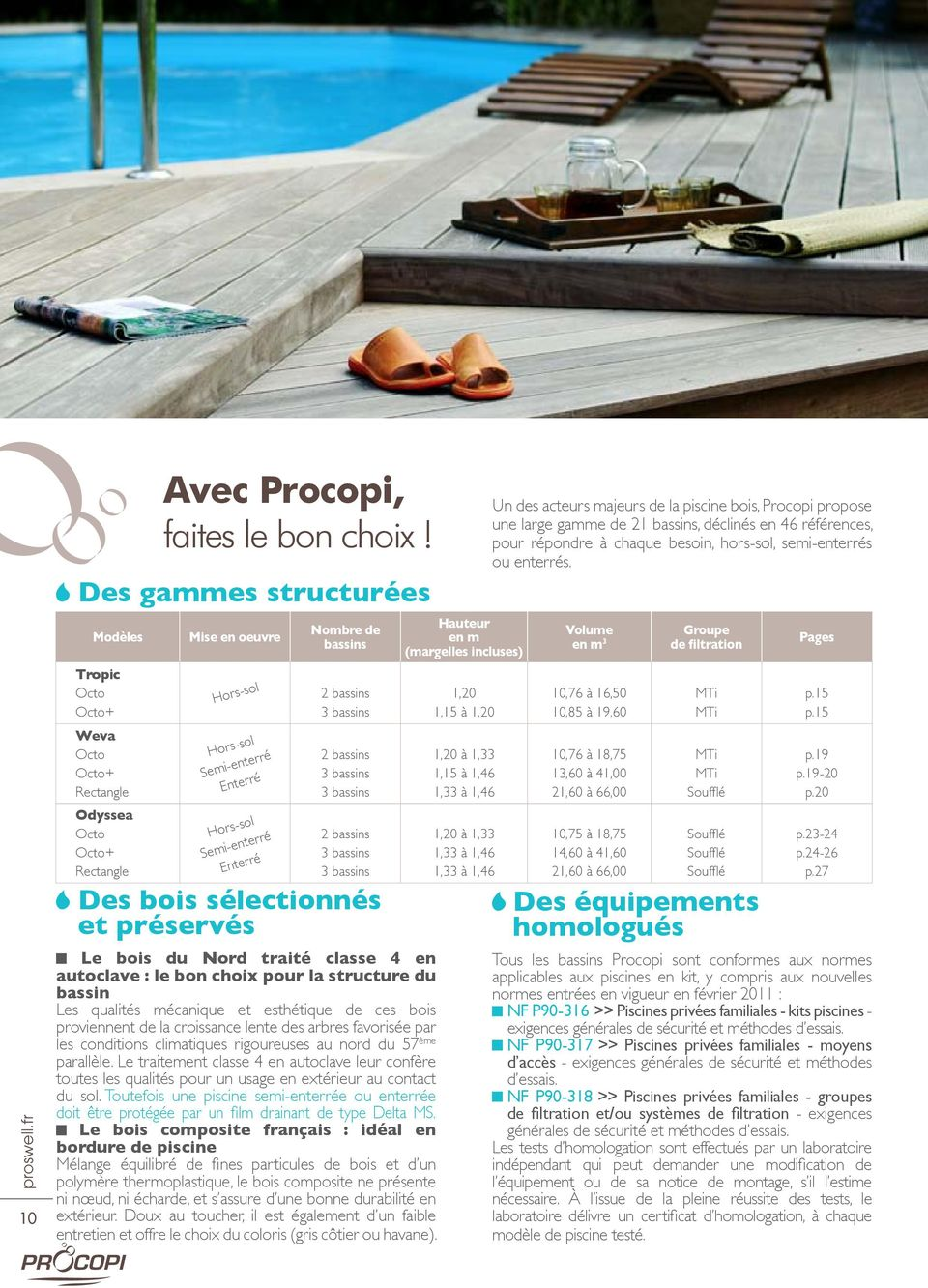 catalogue hors sol semi enterr es enterr es piscines bois pdf. Black Bedroom Furniture Sets. Home Design Ideas
