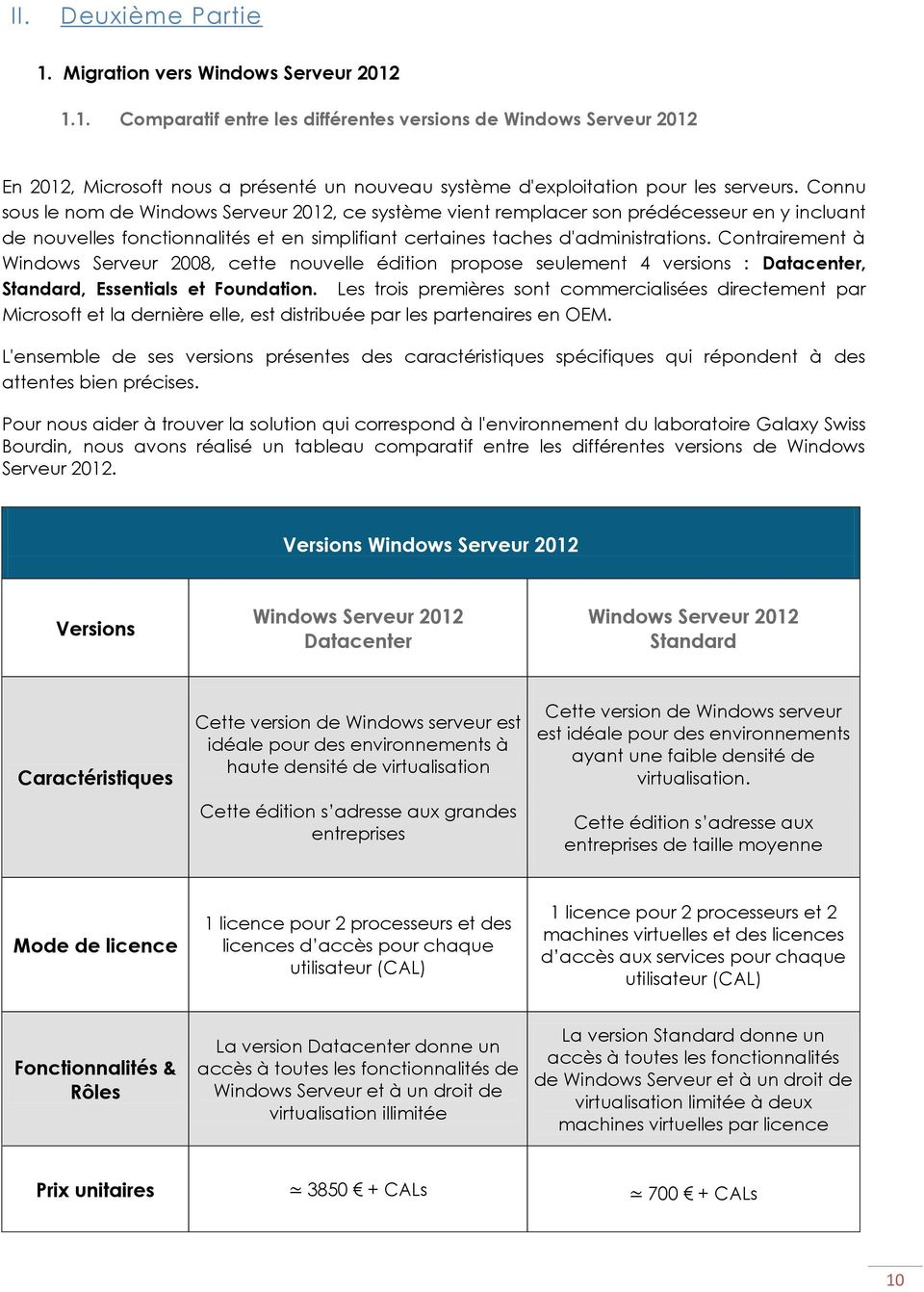 Contrairement à Windows Serveur 2008, cette nouvelle édition propose seulement 4 versions : Datacenter, Standard, Essentials et Foundation.