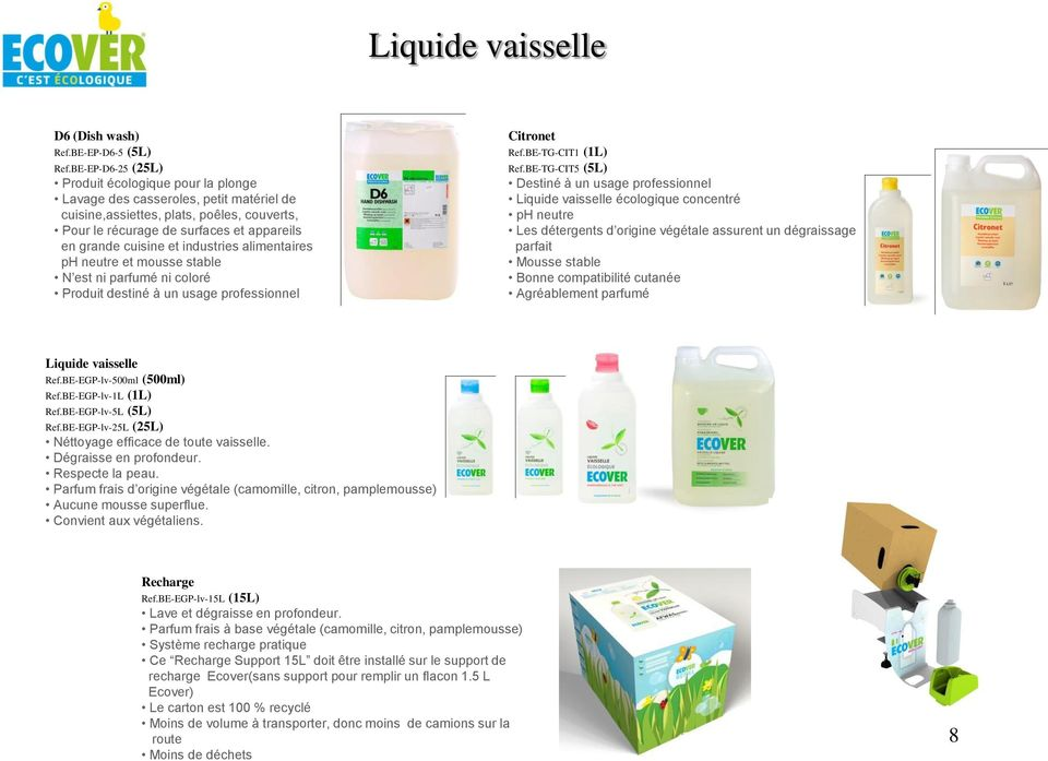 industries alimentaires ph neutre et mousse stable N est ni parfumé ni coloré Citronet Ref.BE-TG-CIT1 (1L) Ref.