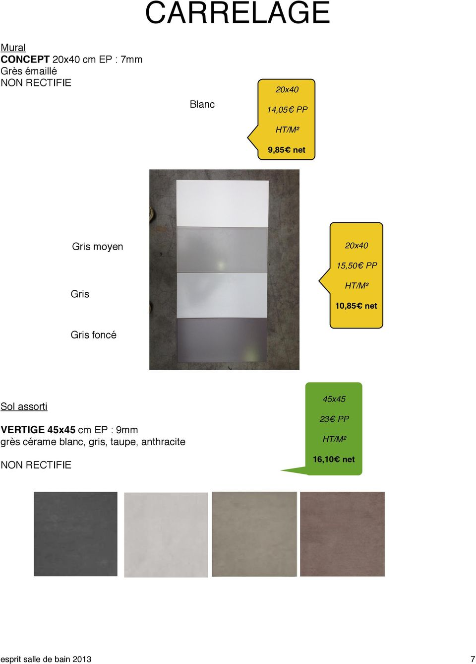 Catalogue selection pdf for Carrelage 20x40 blanc
