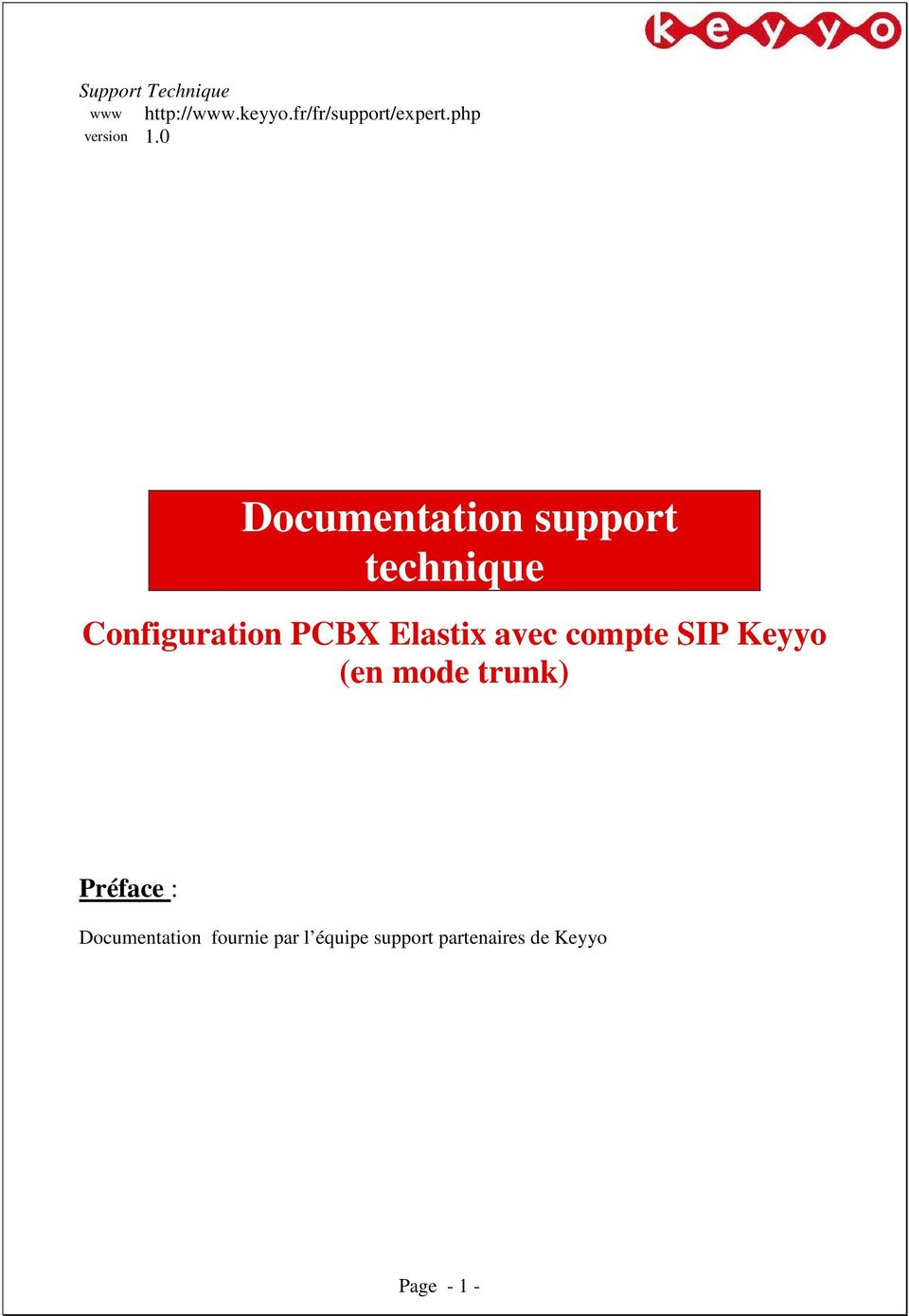 0 Documentation support technique Configuration PCBX Elastix