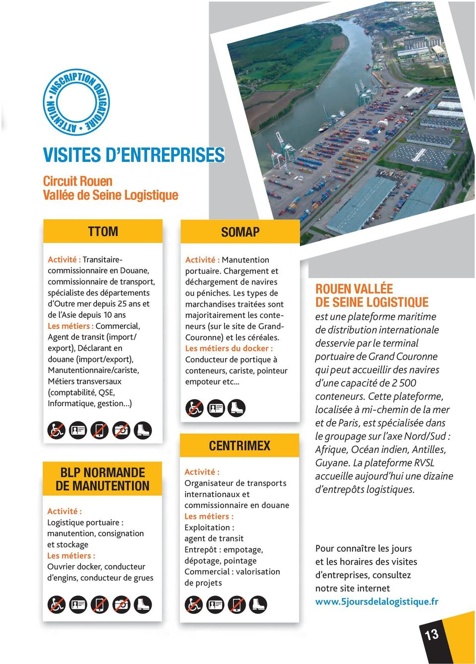 Informatique, gestion ) BLP NORMANDE DE MANUTENTION Activité : Logistique portuaire : manutention, consignation et stockage Les métiers : Ouvrier docker, conducteur d engins, conducteur de grues