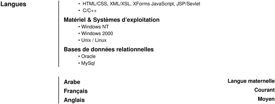 Windows 2000 Unix / Linux Bases de données relationnelles
