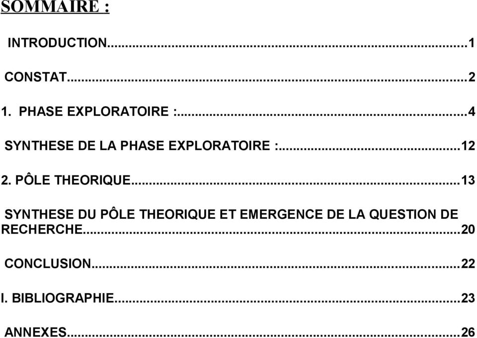 ..13 SYNTHESE DU PÔLE THEORIQUE ET EMERGENCE DE LA QUESTION DE