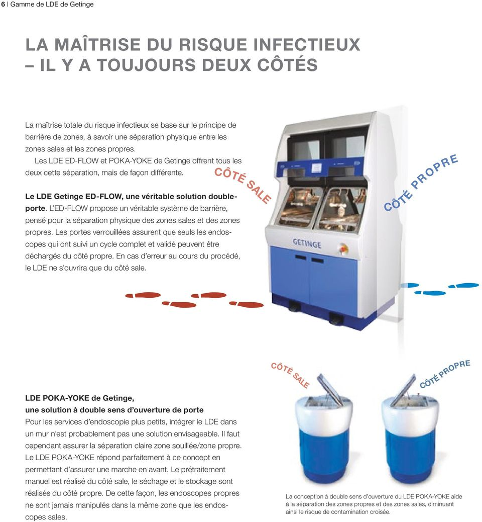 CÔTÉ SALE Le LDE Getinge ED-FLOW, une véritable solution doubleporte. L ED-FLOW propose un véritable système de barrière, pensé pour la séparation physique des zones sales et des zones propres.