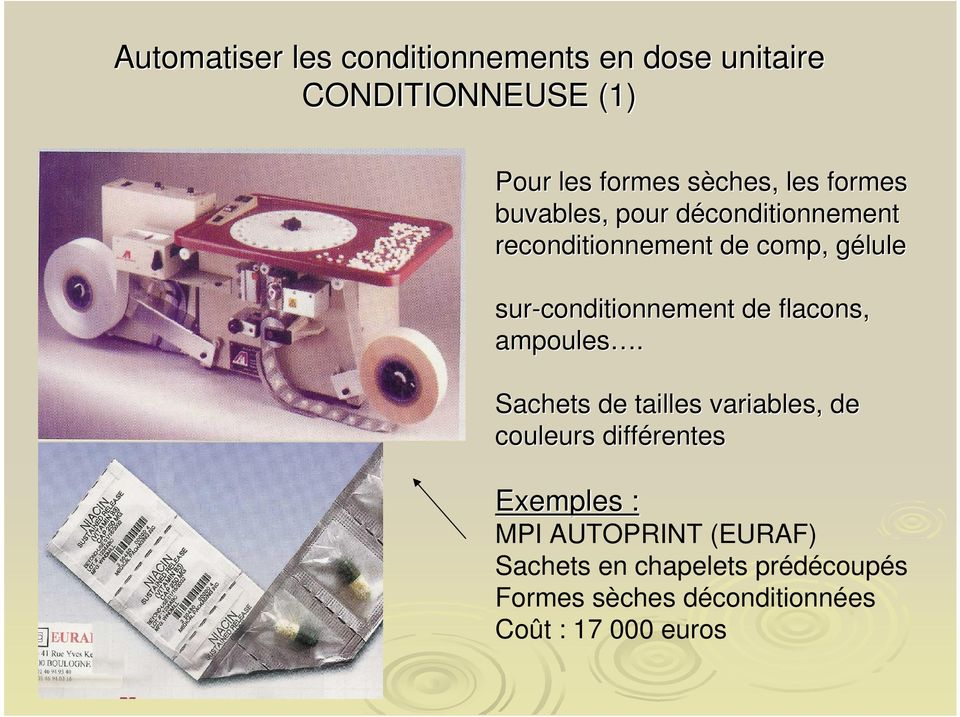 sur-conditionnement de flacons, ampoules.