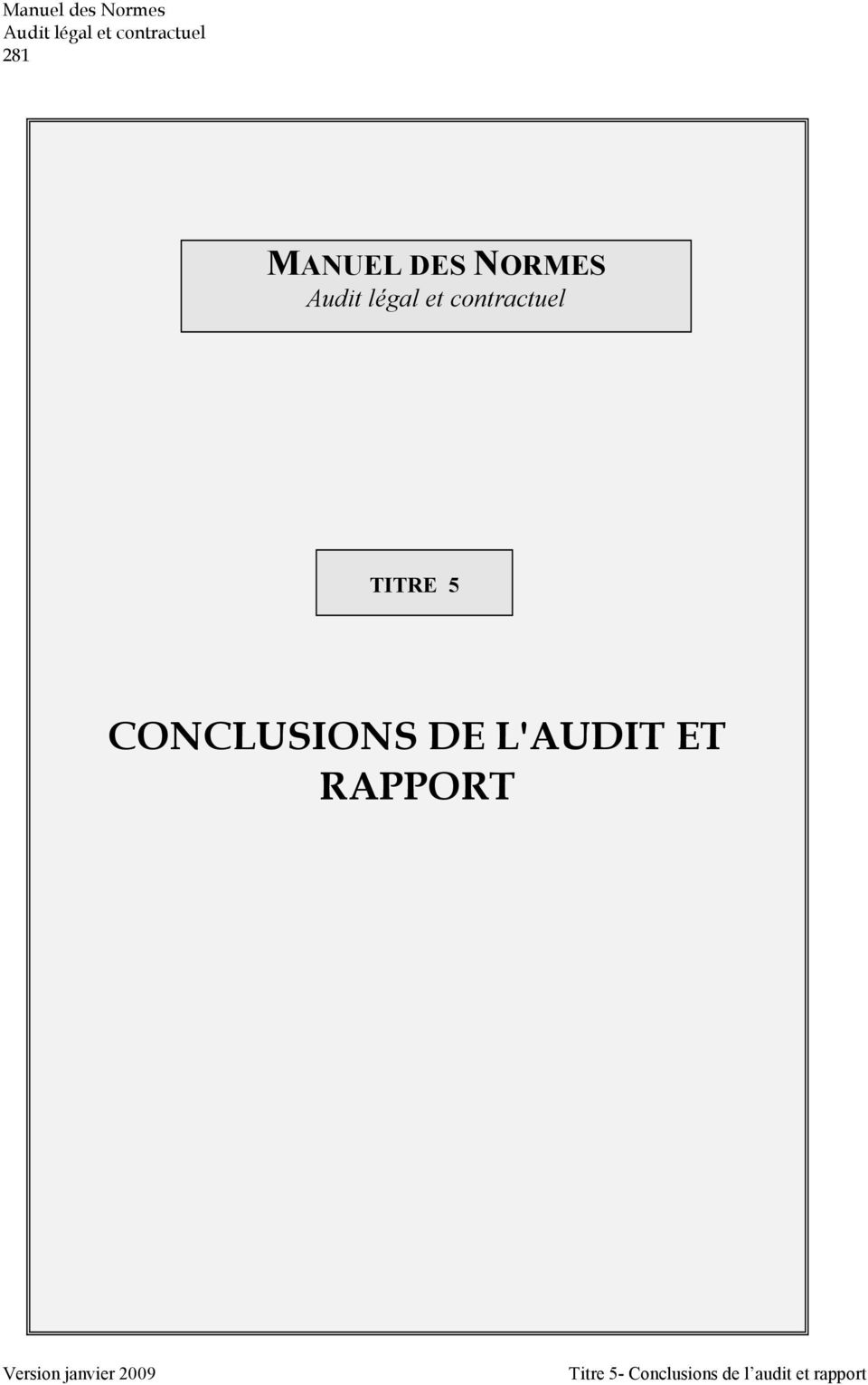 L'AUDIT ET RAPPORT Version janvier