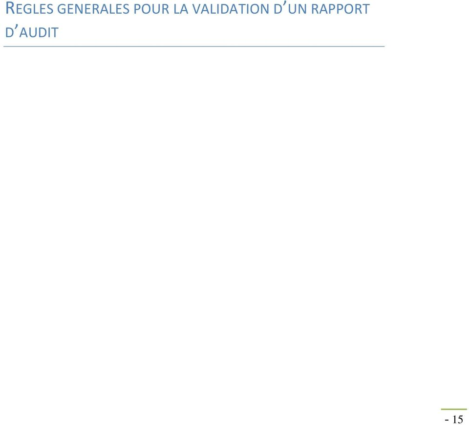 LA VALIDATION D