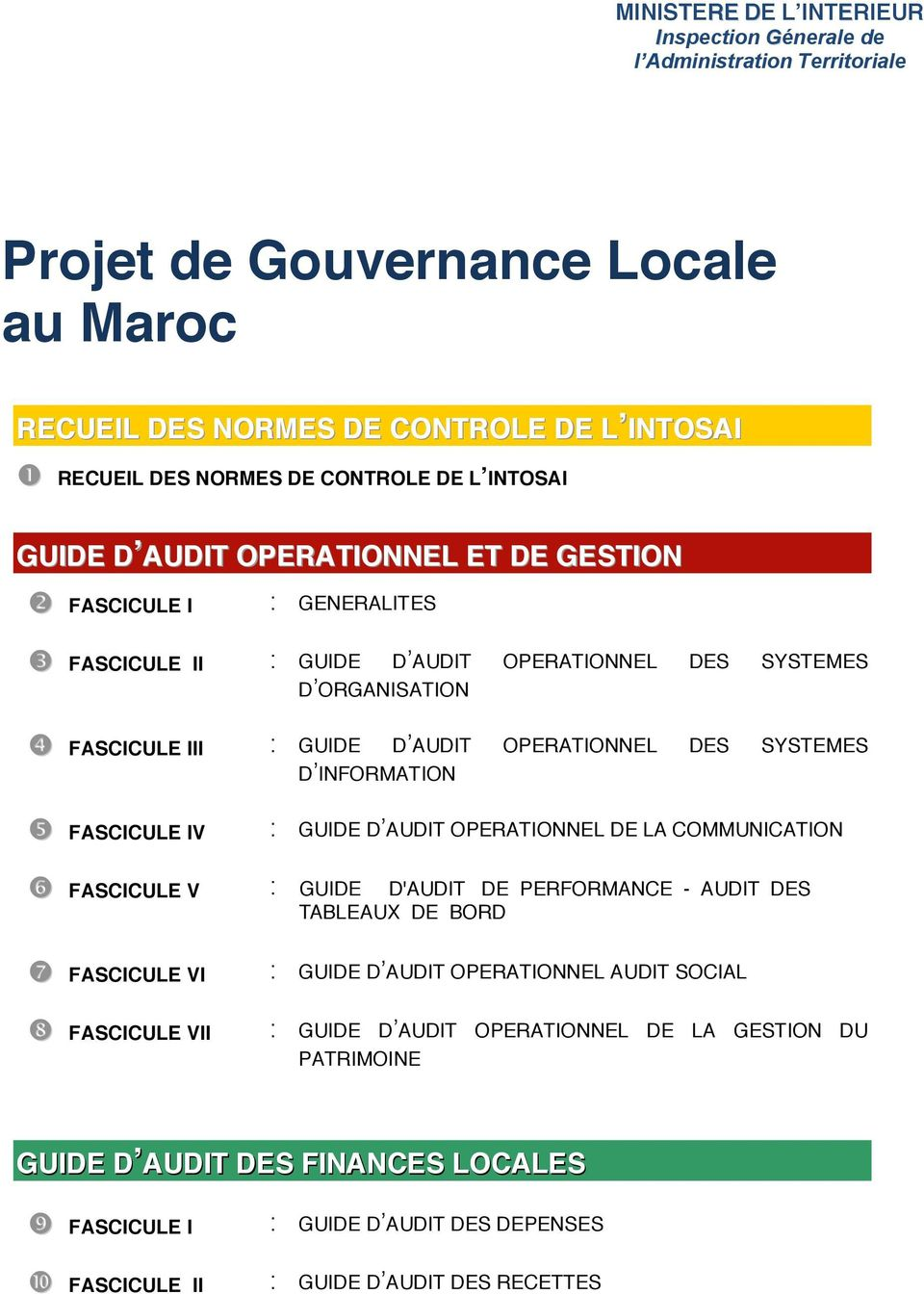 SYSTEMES D'INFORMATION FASCICULE IV : GUIDE D'AUDIT OPERATIONNEL DE LA COMMUNICATION FASCICULE V : GUIDE D'AUDIT DE PERFORMANCE - AUDIT DES TABLEAUX DE BORD FASCICULE VI : GUIDE D'AUDIT