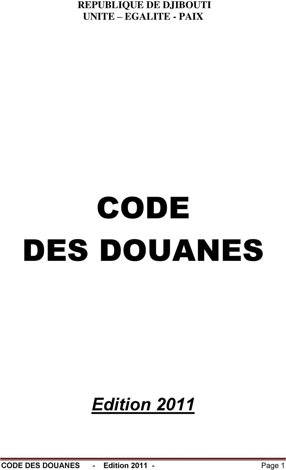 DOUANES Edition 2011 CODE