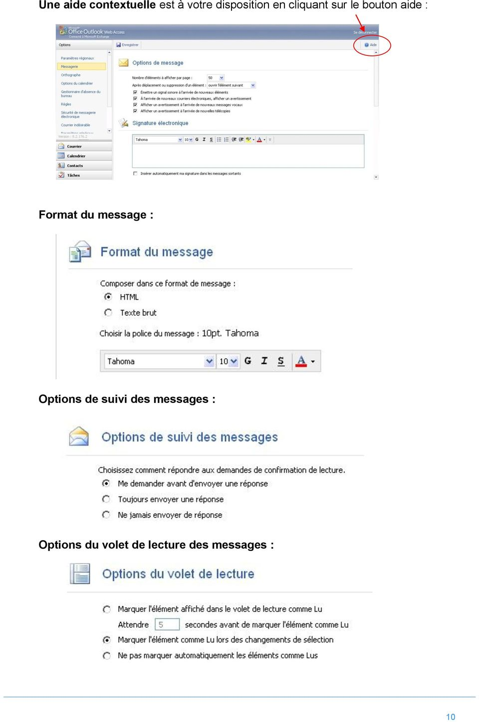 : Format du message : Options de suivi des