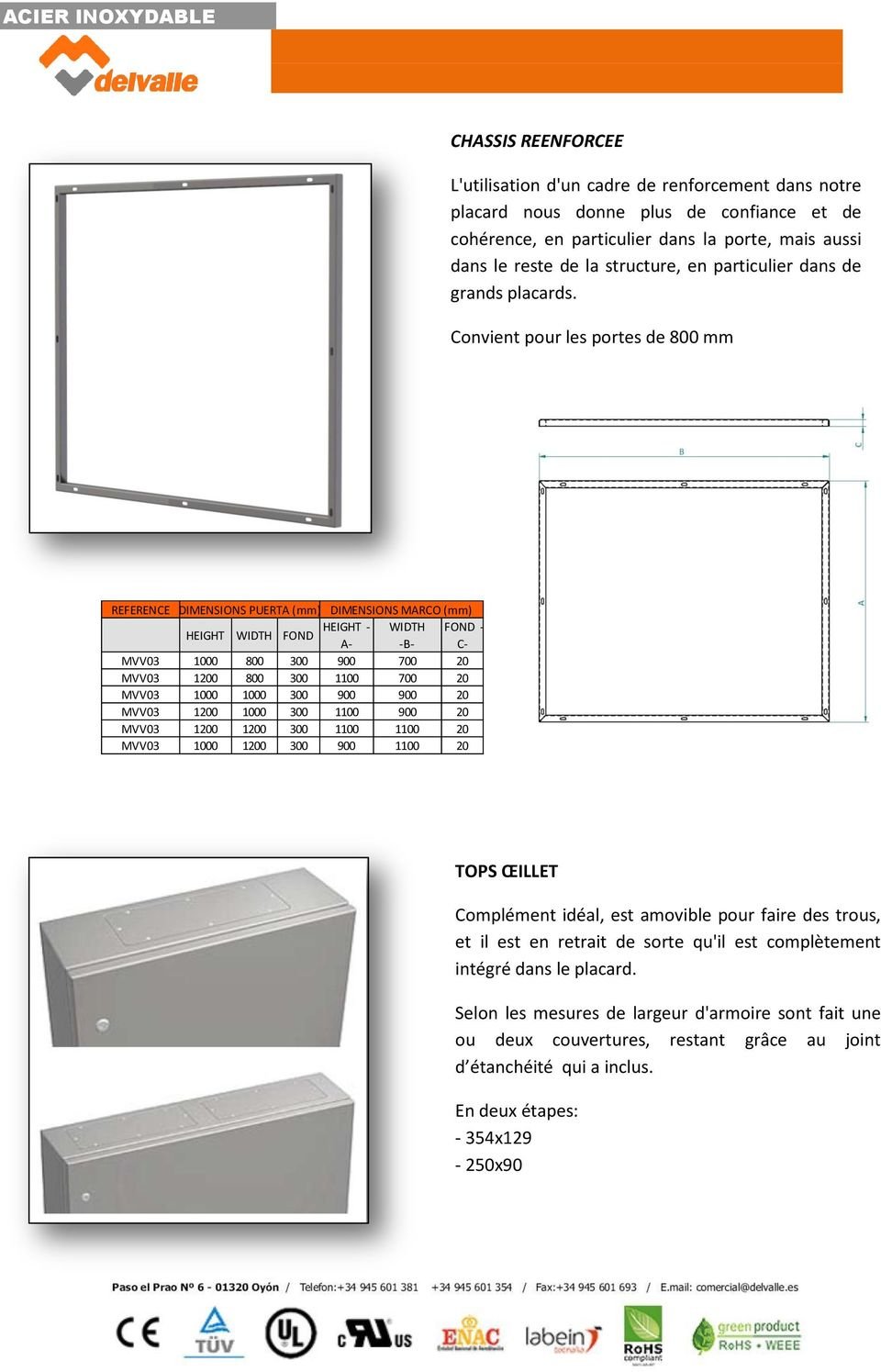 Convient pour les portes de 800 mm REFERENCE DIMENSIONS PUERTA (mm) DIMENSIONS MARCO (mm) HEIGHT HEIGHT - WIDTH FOND - WIDTH FOND A- -B- C- MVV03 1000 800 300 900 700 20 MVV03 1200 800 300 1100 700