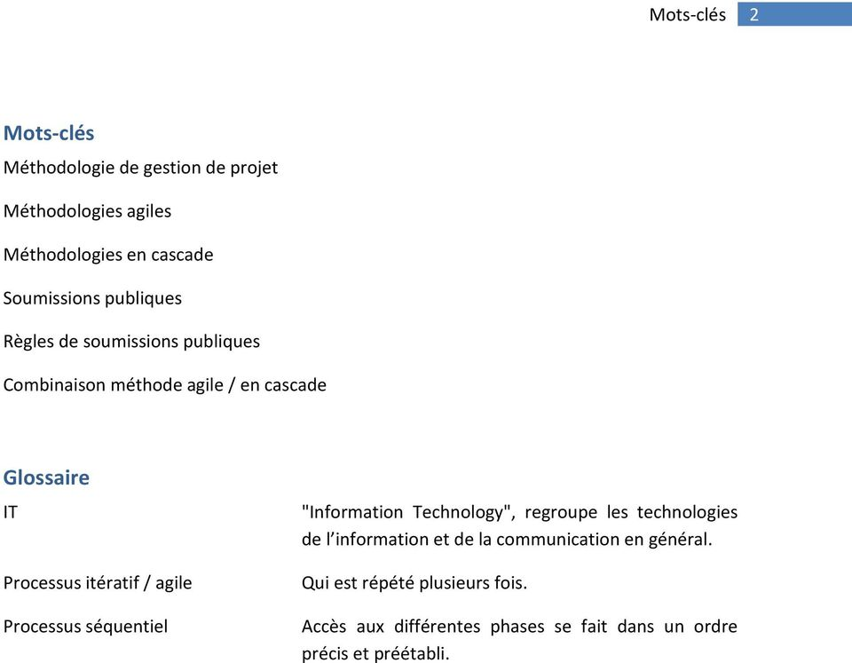 "agile Processus séquentiel ""Information Technology"", regroupe les technologies de l information et de la"