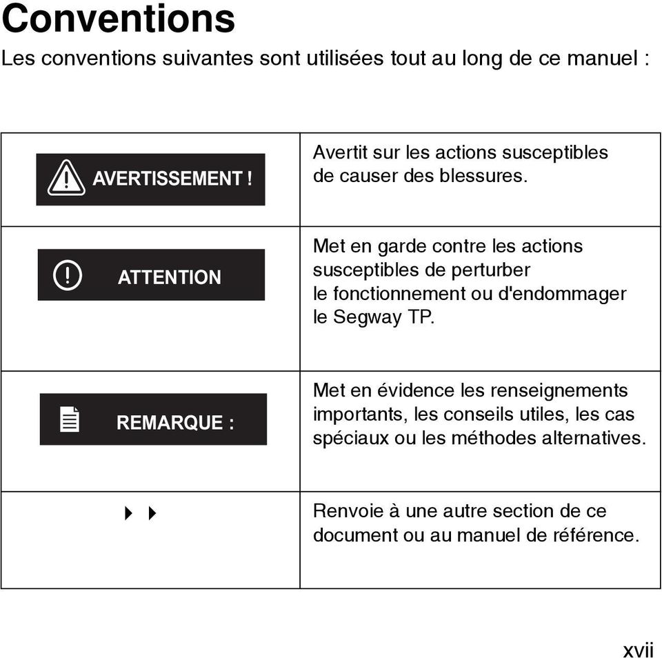 ATTENTION Met en garde contre les actions susceptibles de perturber le fonctionnement ou d'endommager le Segway TP.