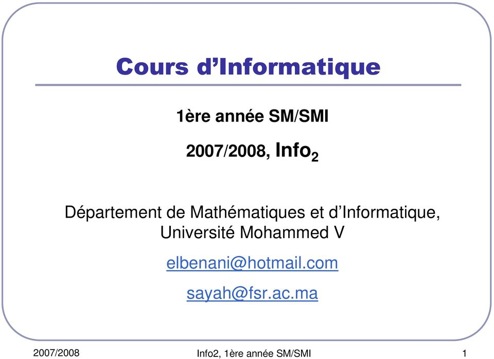 Informatique, Université Mohammed V