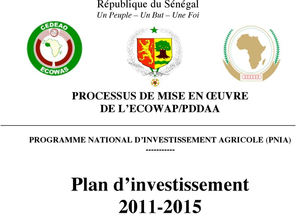 PROGRAMME NATIONAL D INVESTISSEMENT AGRICOLE