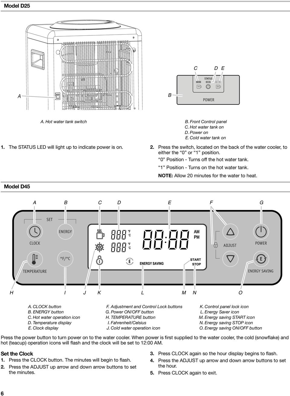 NOTE: llow 20 minutes for the water to heat. Model D45 D E F G H I J K L M N O. LOK button. ENERGY button. Hot water operation icon D. Temperature display E. lock display F.