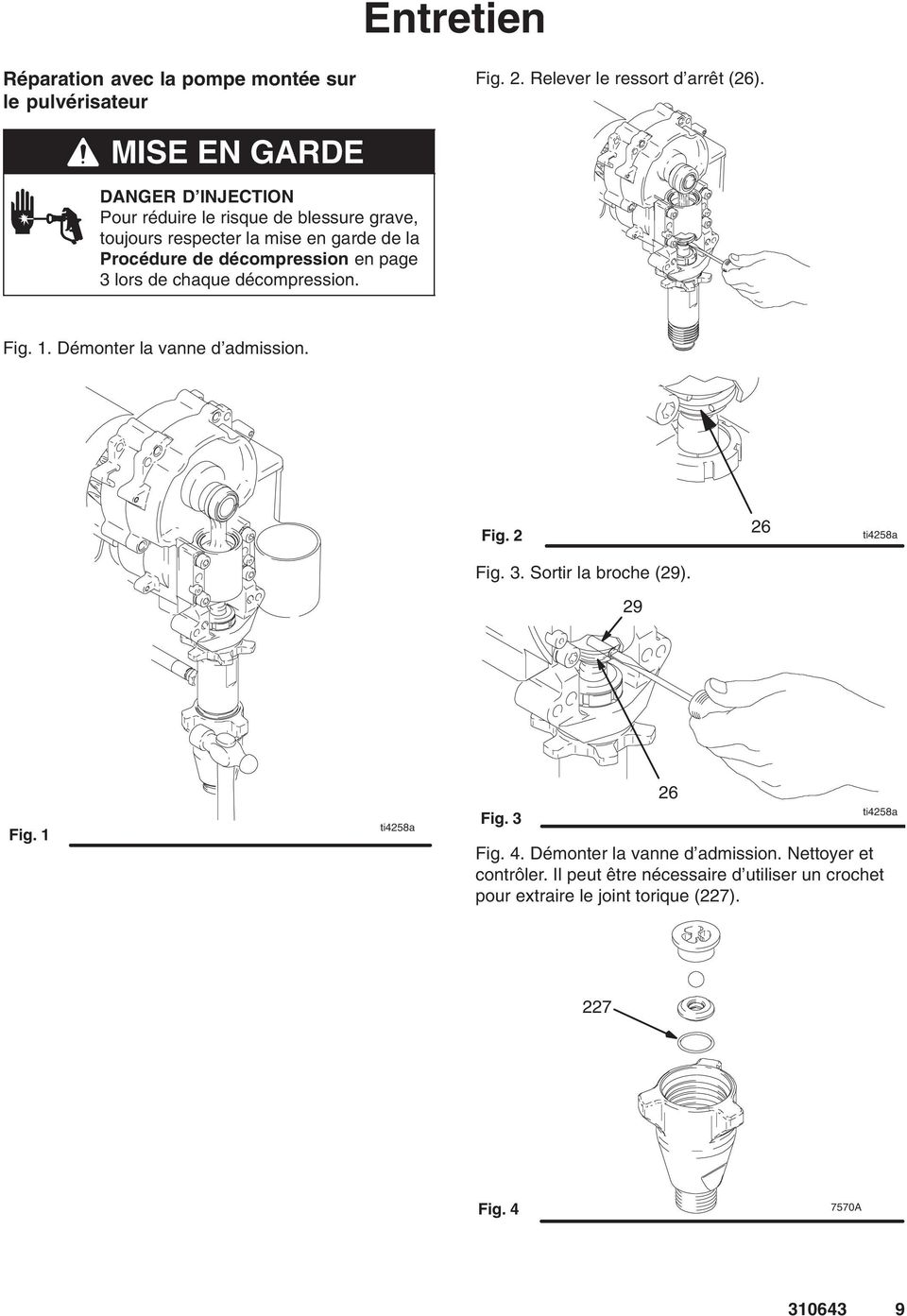 en page 3 lors de chaque décompression. Fig. 1. Démonter la vanne d admission. Fig. 2 26 ti4258a Fig. 3. Sortir la broche (29). 29 Fig.