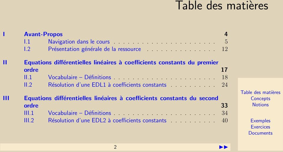 ..................... 18 II.2 Résolution d une EDL1 à coefficients constants.