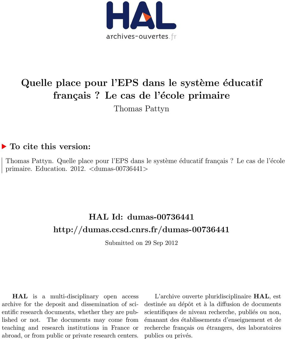fr/dumas-00736441 Submitted on 29 Sep 2012 HAL is a multi-disciplinary open access archive for the deposit and dissemination of scientific research documents, whether they are published or not.