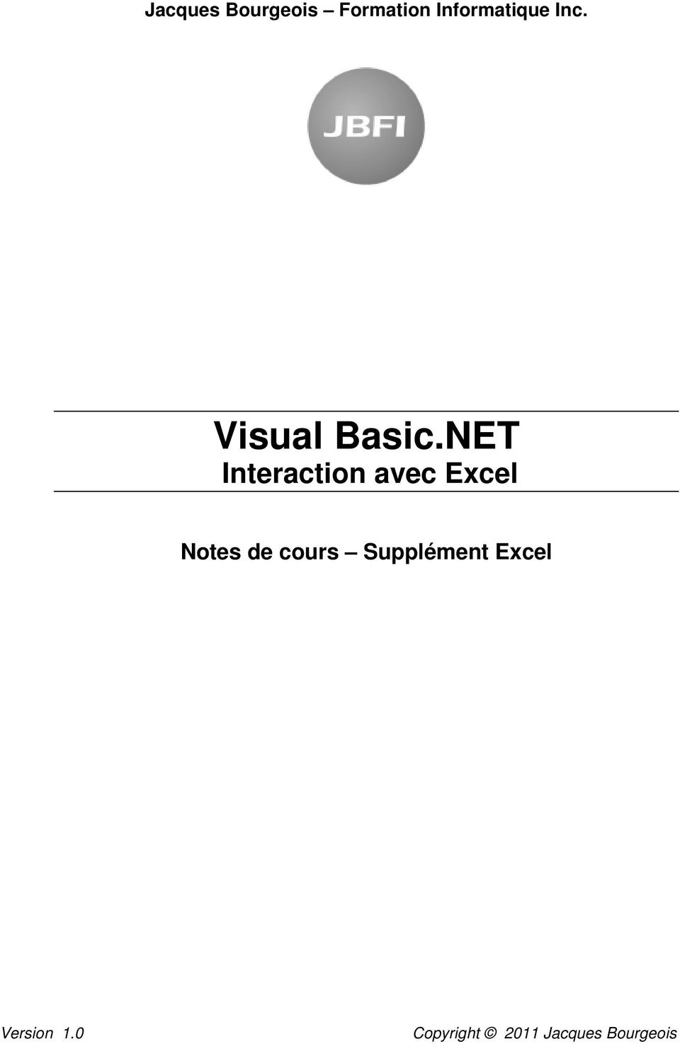 NET Interaction avec Excel Notes de
