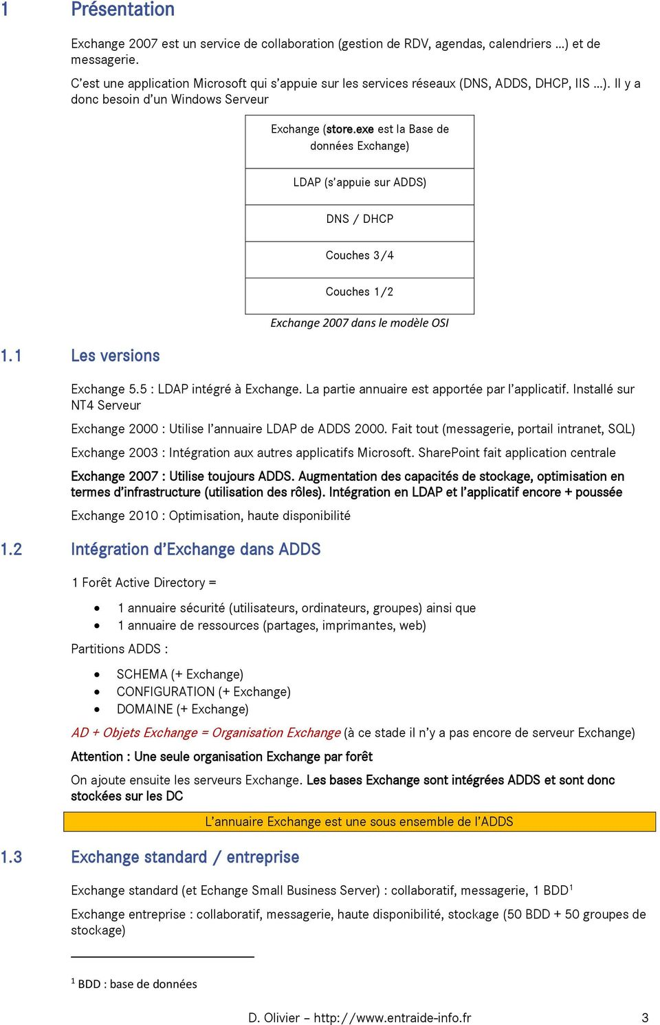 exe est la Base de données Exchange) LDAP (s appuie sur ADDS) DNS / DHCP Couches 3/4 1.1 Les versions Couches 1/2 Exchange 2007 dans le modèle OSI Exchange 5.5 : LDAP intégré à Exchange.