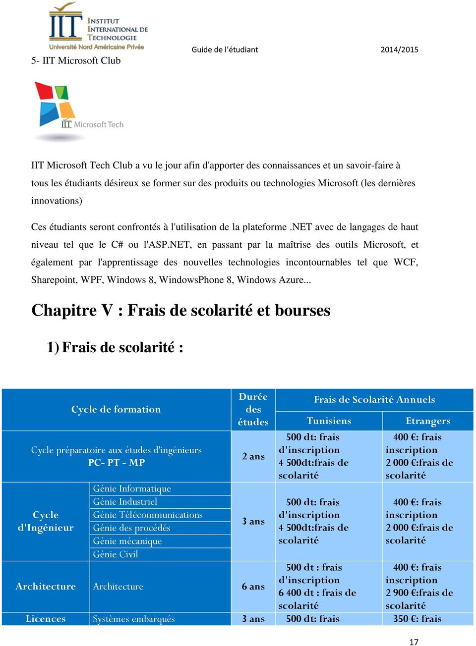 net, en passant par la maîtrise des outils Microsoft, et également par l'apprentissage des nouvelles technologies incontournables tel que WCF, Sharepoint, WPF, Windows 8, WindowsPhone 8, Windows