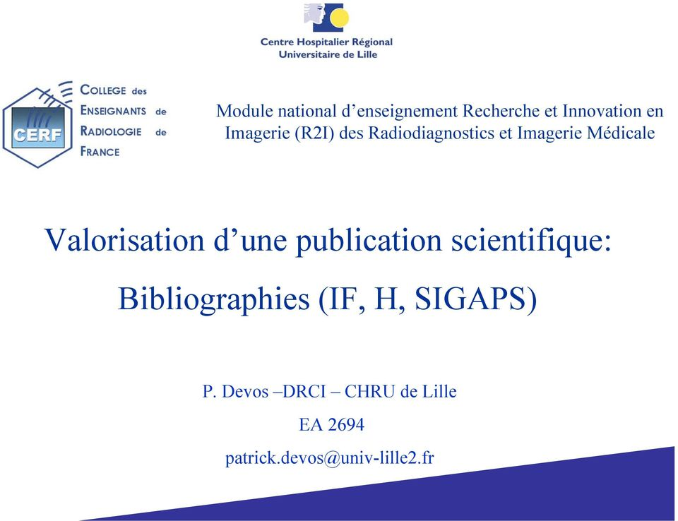 Valorisation d une publication scientifique: Bibliographies