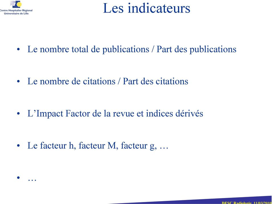 Part des citations L Impact Factor de la revue et