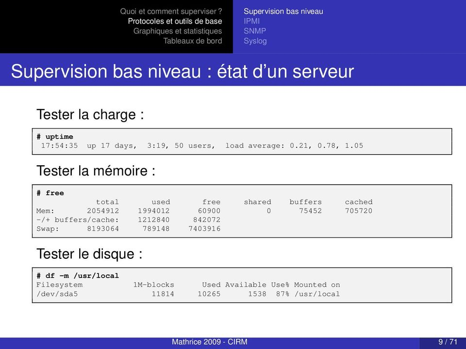 05 Tester la mémoire : # free total used free shared buffers cached Mem: 2054912 1994012 60900 0 75452 705720 -/+