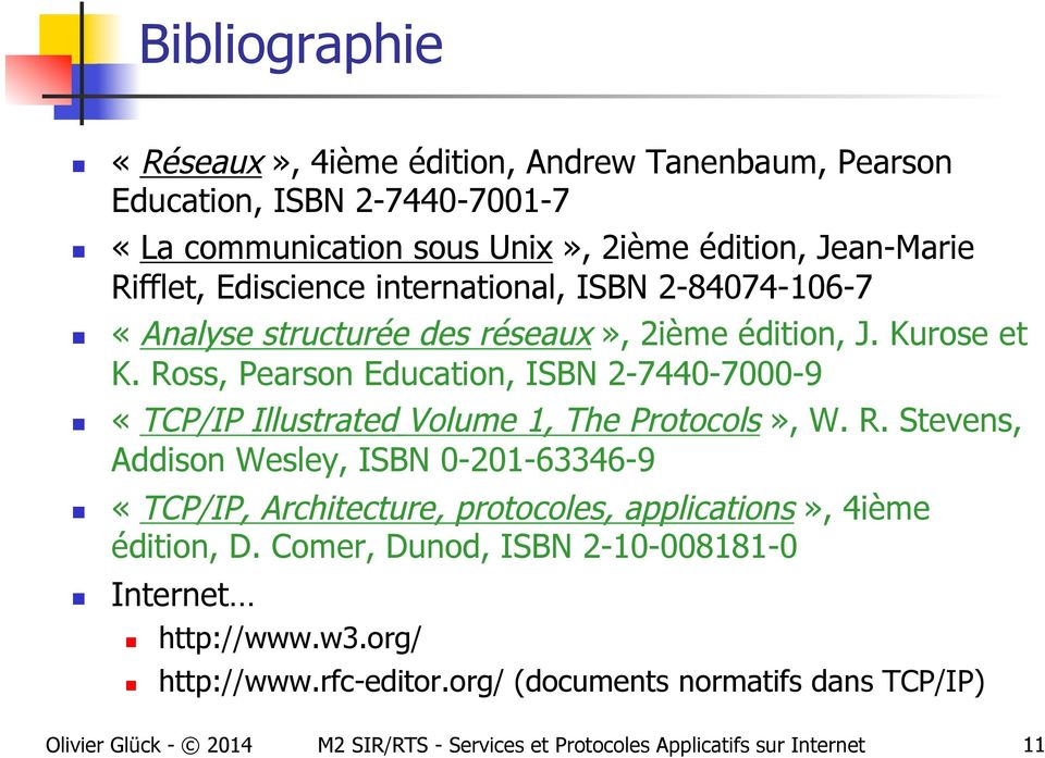 Ross, Pearson Education, ISBN 2-7440-7000-9 «TCP/IP Illustrated Volume 1, The Protocols», W. R.
