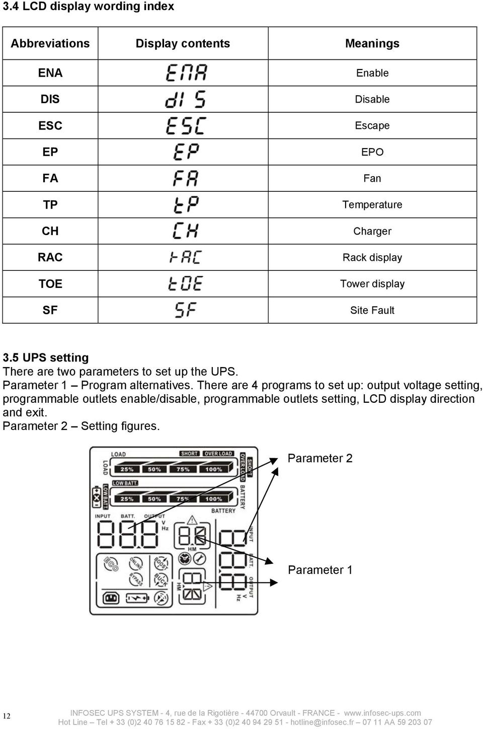 5 UPS setting There are two parameters to set up the UPS. Parameter 1 Program alternatives.