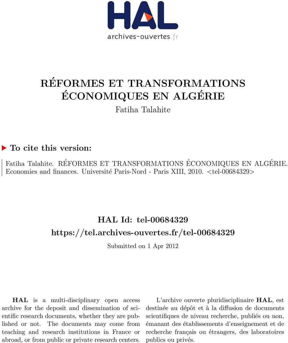 fr/tel-00684329 Submitted on 1 Apr 2012 HAL is a multi-disciplinary open access archive for the deposit and dissemination of scientific research documents, whether they are published or not.
