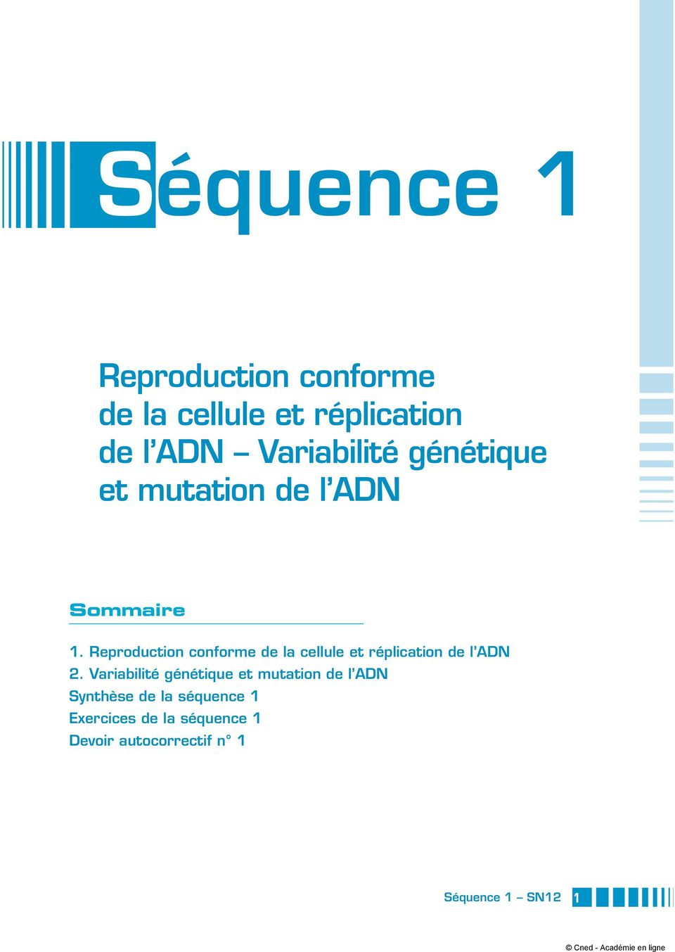 Reproduction conforme de la cellule et réplication de l ADN 2.