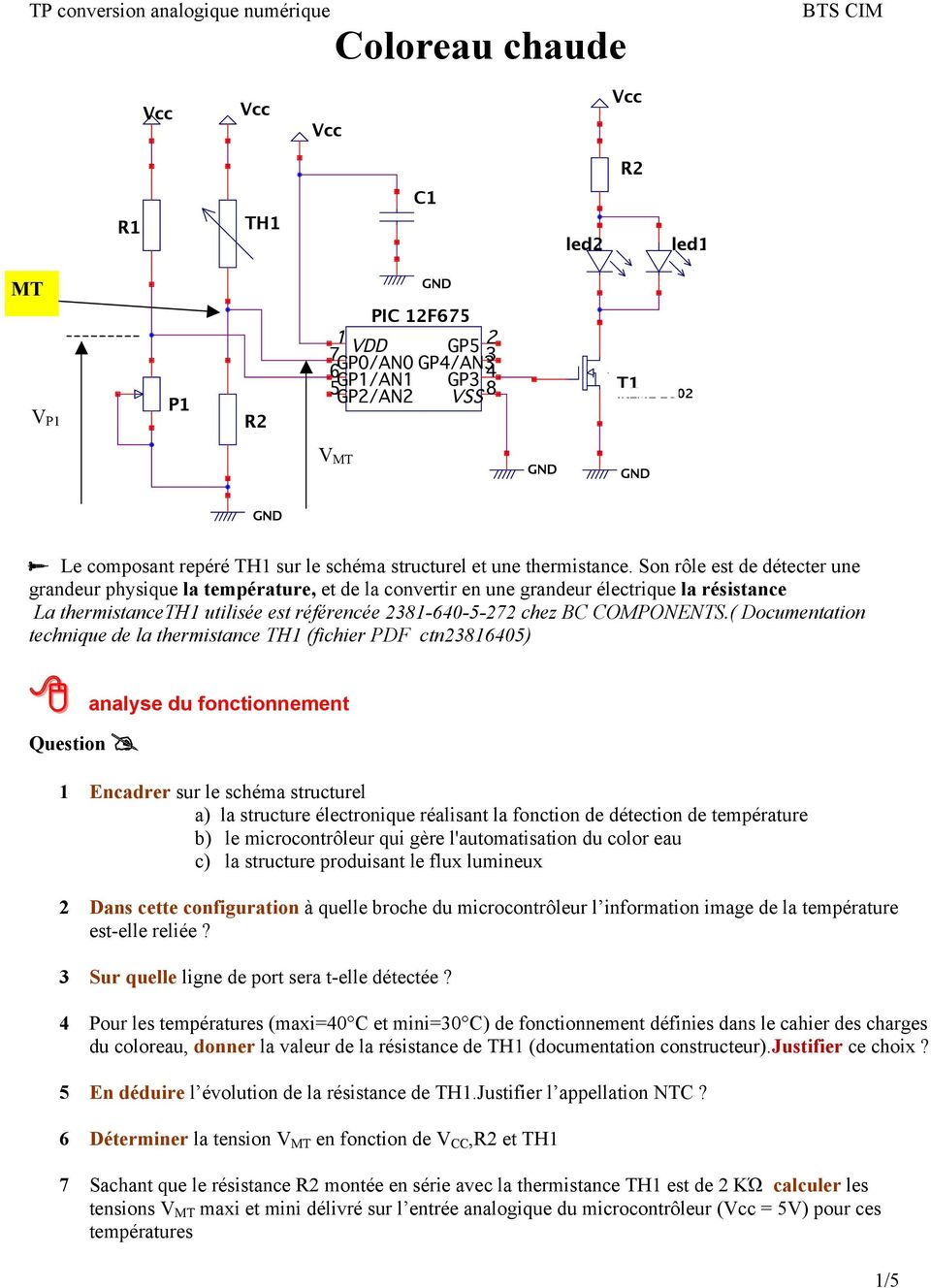 ( Documentation technique de la thermistance TH1 (fichier PDF ctn23816405)!