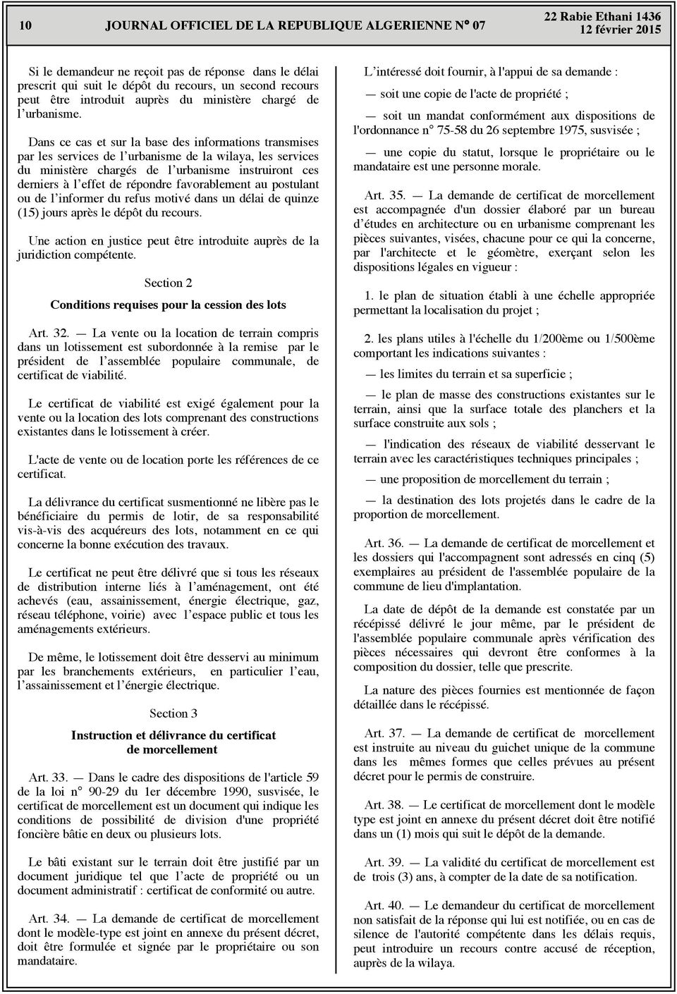 Journal officiel de la republique algerienne democratique for Certificat de non opposition permis de construire