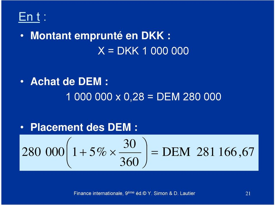 Placement des DEM : 30 280 000 1 + 5% = 360 DEM 281