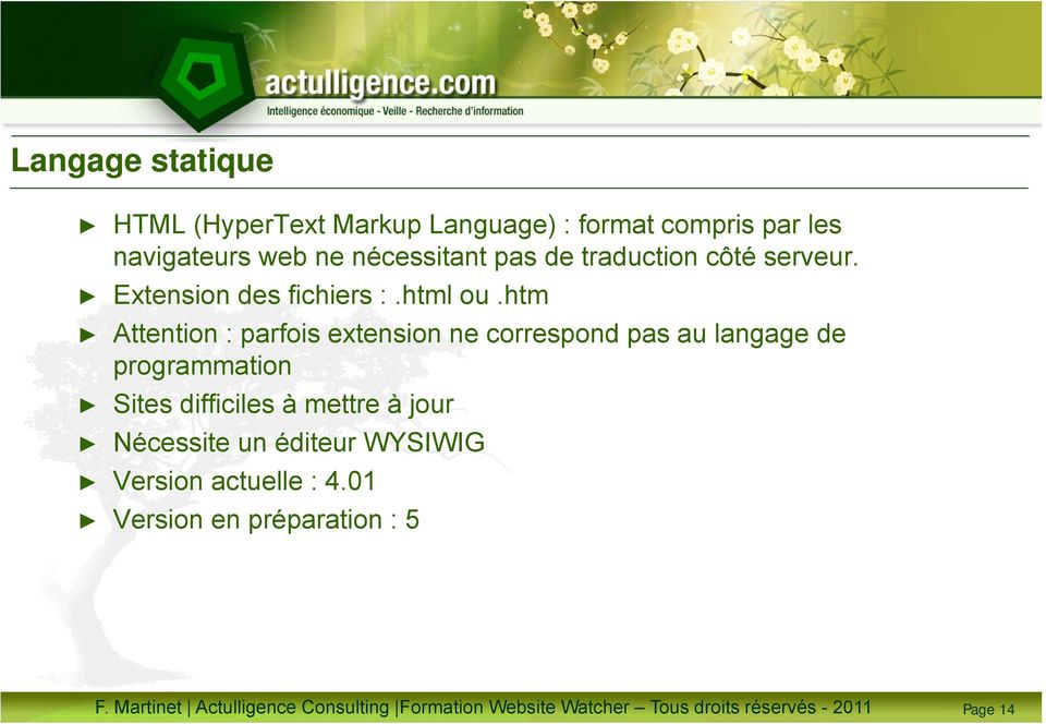 htm Attention : parfois extension ne correspond pas au langage de programmation Sites