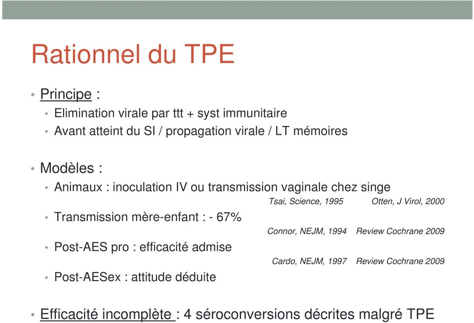 Post-AES pro : efficacité admise Post-AESex : attitude déduite Tsai, Science, 1995 Otten, J Virol, 2000 Connor, NEJM,