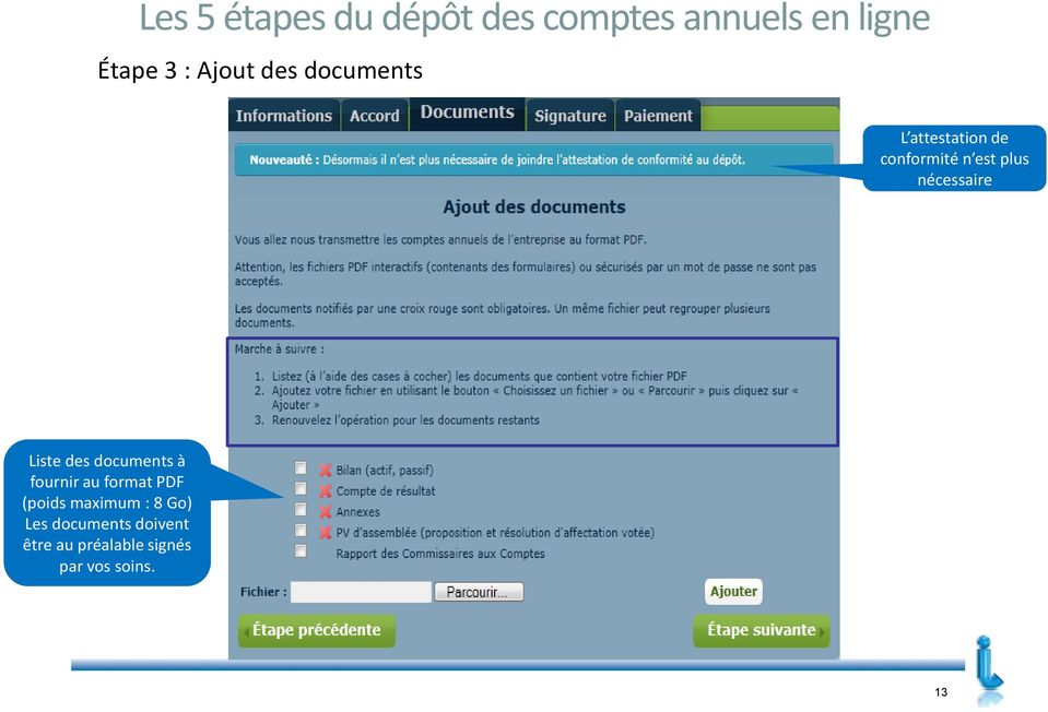 documents à fournir au format PDF (poids maximum : 8 Go) Les documents doivent