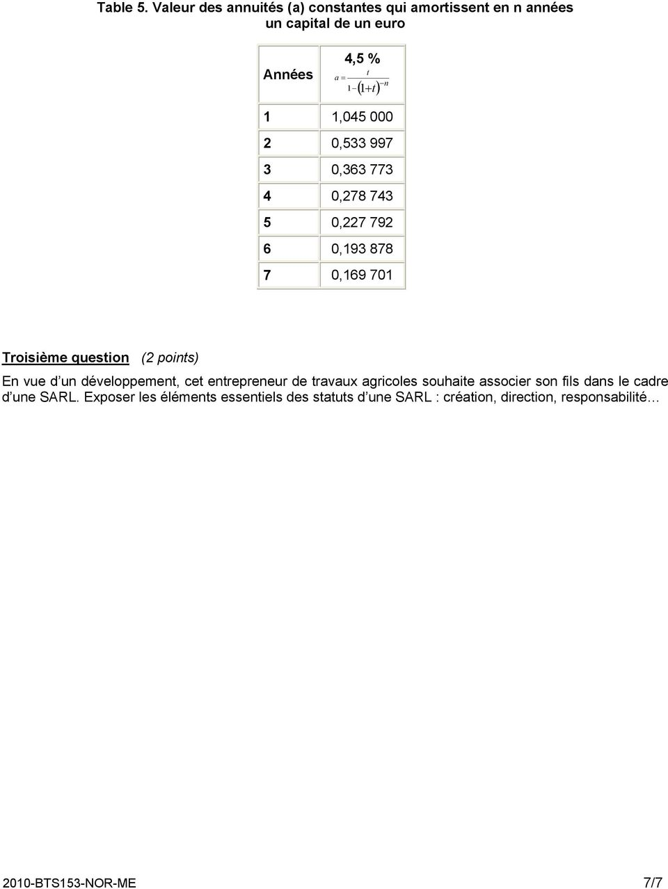1,045 000 2 0,533 997 3 0,363 773 4 0,278 743 5 0,227 792 6 0,193 878 7 0,169 701 Troisième question (2 points) En vue
