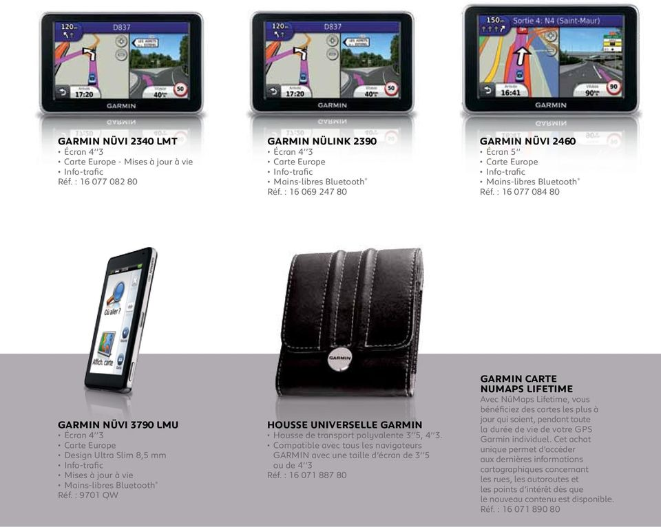 : 16 077 084 80 GARMIN Nüvi 3790 LMU Écran 4 3 Carte Europe Design Ultra Slim 8,5 mm Info-trafic Mises à jour à vie Mains-libres Bluetooth Réf.