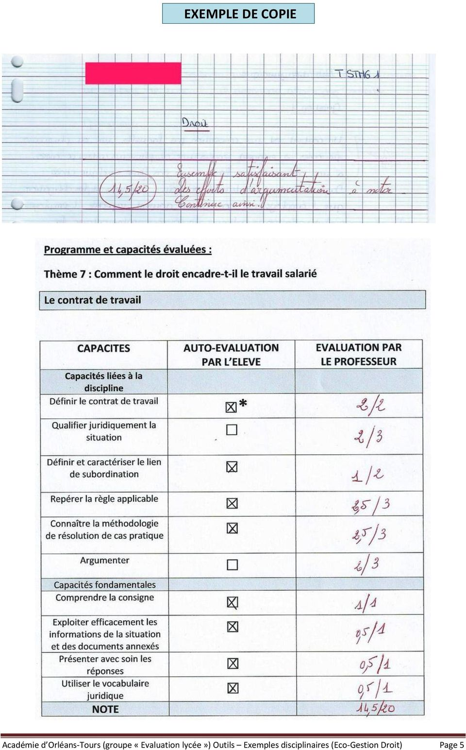 «Evaluation lycée») Outils
