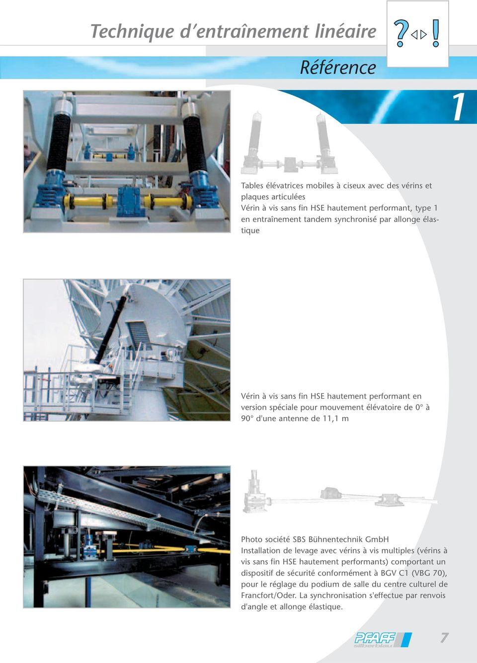 m Photo société SBS Bühnentechnik GmbH Installation de levage avec vérins à vis multiples (vérins à vis sans fin HSE hautement performants) comportant un dispositif de sécurité