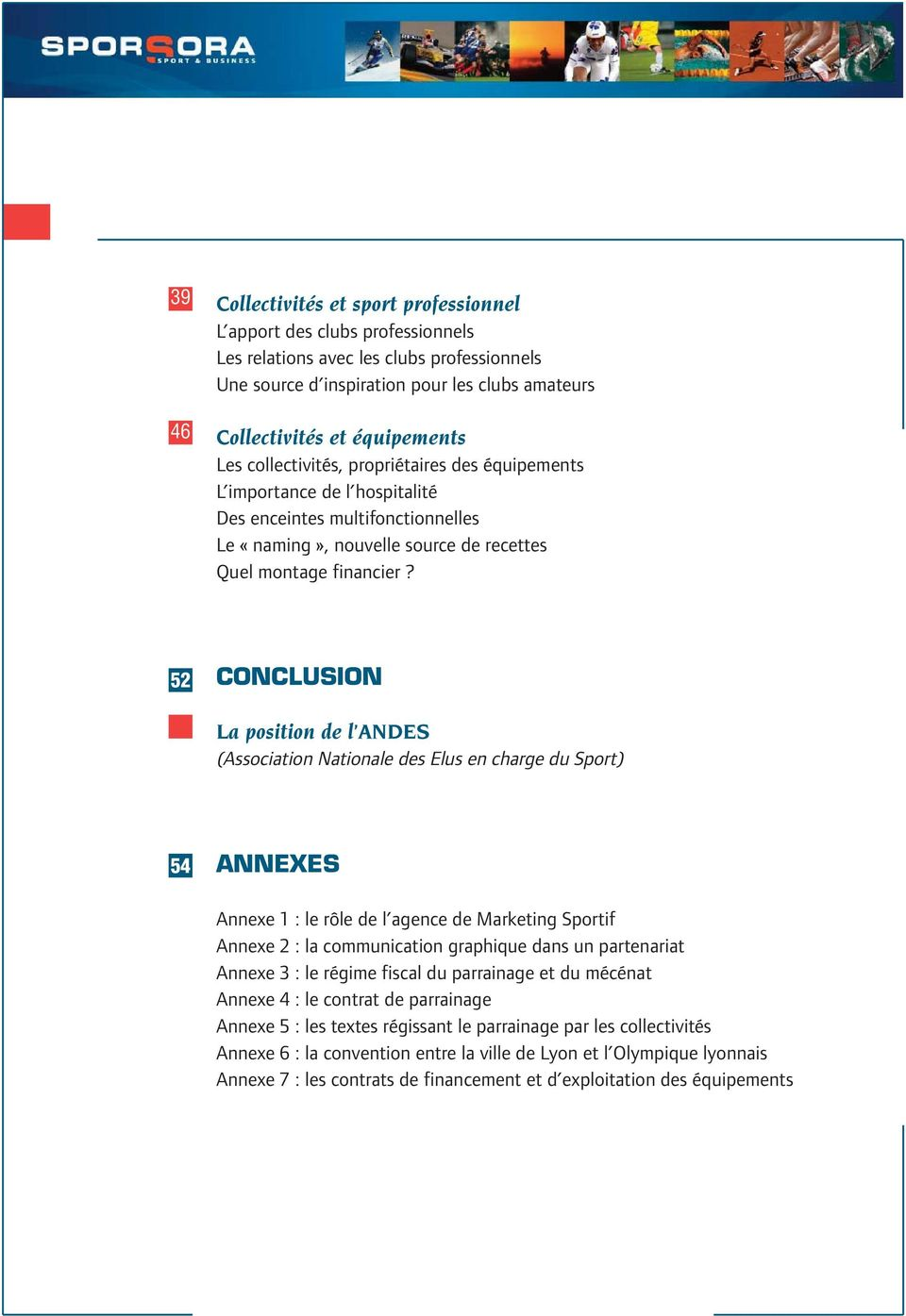 52 CONCLUSION La position de l ANDES (Association Nationale des Elus en charge du Sport) 54 ANNEXES Annexe 1 : le rôle de l agence de Marketing Sportif Annexe 2 : la communication graphique dans un